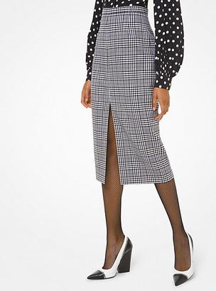 Michael Kors Glen Plaid Wool Slit-Front Pencil Skirt