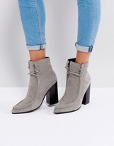 Sol Sana Dillan Gray Suede Heeled Ankle Boots