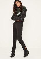 Missguided Black Zip Hem Pintuck Front Joggers