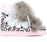 Sophia Webster fur detail animal print sneakers - women - Calf Leather/Leather/Sheep Skin/Shearling/rubber - 36