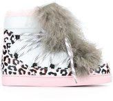 Sophia Webster fur detail animal print sneakers