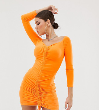 Fashionkilla off shoulder ruched front mini bodycon dress in orange