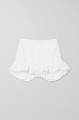 Charo Ruiz Ibiza Saza Crocheted Lace-trimmed Broderie Anglaise Cotton-blend Shorts - White