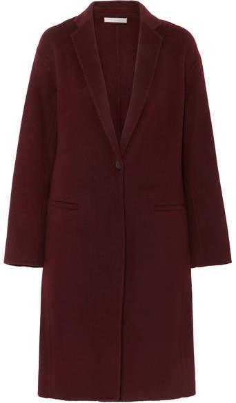 Vince Brushed Wool-blend Coat - Burgundy
