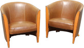 One Kings Lane Vintage French Art Deco Leather Club Chairs - Set of 2 - Something Vintage - tan