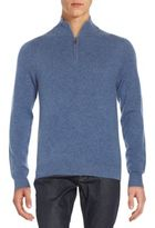 Saks Fifth Avenue Zip-Up V-Neck Cashmere Sweater
