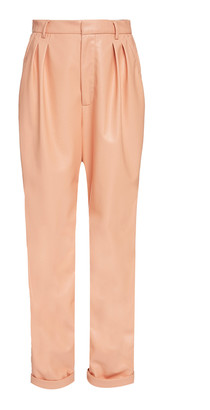 Sally LaPointe Pleated Belted Faux Leather Tapered Pants