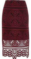 River Island Wodark Red Geo Lace Pencil Skirt