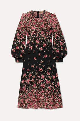 Michael Kors Floral-print Silk Crepe De Chine Dress - Black