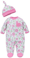 Offspring Babys Two-Piece Cotton Footie and Beanie Set