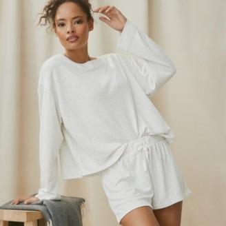 The White Company Double-Faced Stripe Pyjama Shorts, White Grey, Extra Small