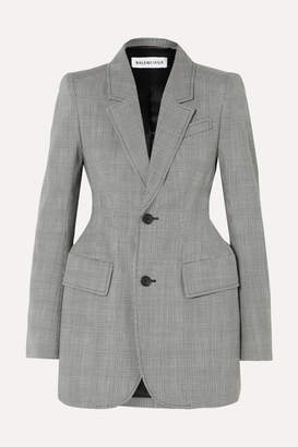 Balenciaga Hourglass Prince Of Wales Checked Wool-blend Blazer - Gray