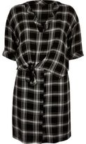 River Island Womens Black check tie front shirt dress