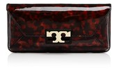 Tory Burch Gigi Tortoise-Print Patent Leather Clutch