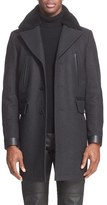 Belstaff Men's 'Grovewood' Wool Blend Coat With Genuine Shearling Collar