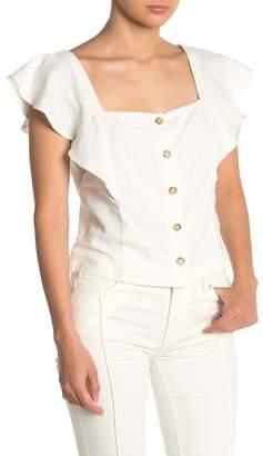 Lush Button Front Flutter Sleeve Shirt