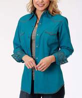 Roper Jewel Blue Seamed Button-Up