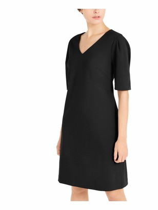 Alfani Womens Black Solid Short Sleeve V Neck Above The Knee Shift Dress UK Size:20