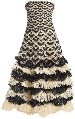 Oscar de la Renta Strapless Raffia Dress