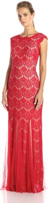 Betsy & Adam Women's Lace Sleeveless Mesh Gown