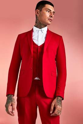 BoohoomanBoohooMAN Mens Red Plain Skinny Fit Suit Jacket, Red