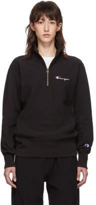Champion Reverse Weave Black Small Script Half-Zip Sweatshirt