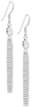 Essentials Cubic Zirconia Dangle Chain Drop Earrings in Fine Silver-Plate
