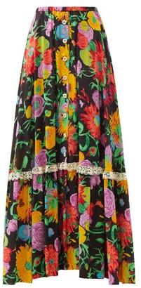 Gucci X Ken Scott Floral-print Crepe Maxi Skirt - Black Print