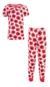 Touched by Nature Big Girls and Boys Poppy Tight-Fit Pajama Set, Pack of 2