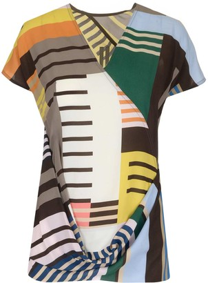 Rick Owens Colour-Block Draped Top