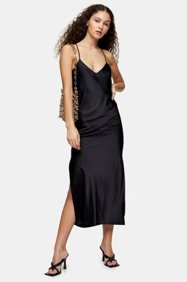 Topshop Black Cowl Back Satin Slip Dress