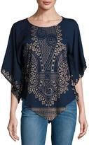 Raga The Kinsley Embroidered Poncho Top, Navy