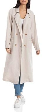 AVEC LES FILLES Oversized Linen Trench Coat