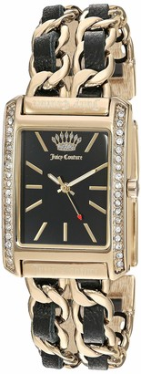 Juicy Couture Black Label Women's Swarovski Crystal Accented Gold-Tone and Black Leather Chain Bracelet Watch JC/1196BKGB