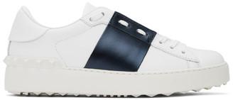 Valentino White and Navy Garavani Rockstud Open Sneakers