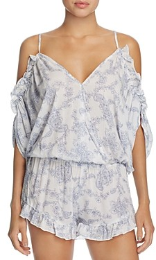 Surf.Gypsy Paisley Cold Shoulder Romper Swim Cover-Up