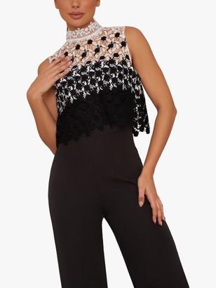 Chi Chi London Lubella Embroidered Bodice Jumpsuit, Black