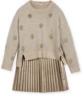 Mayoral Metallic Polka-Dot Sweaterdress, Size 8-16