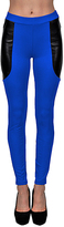story. Royal Blue & Black Faux Leather-Contrast Leggings