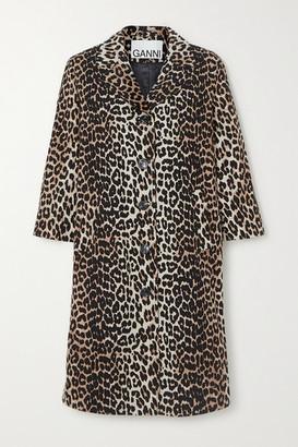 Ganni Leopard-print Linen And Cotton-blend Coat - Leopard print