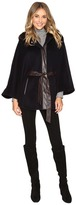 Ellen Tracy Faux Fur Trim Hooded Cape w/ Faux Leather Belt