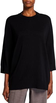 eskandar 3/4-Sleeve Sloped Shoulder Sweater