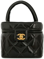 Chanel Pre Owned 1986-1988 Chanel quilted CC cosmetic vanity hand bag