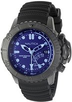 Nautica Men's NAD52500G NMX Dive Style Blue Crystal Analog Display Analog Quartz Black Watch