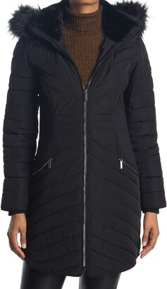 DKNY Zip Front Faux Fur Trim Puffer Jacket