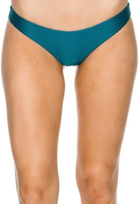 RVCA Women's Solid Textured Cheeky Swimsuit Bikini Bottom