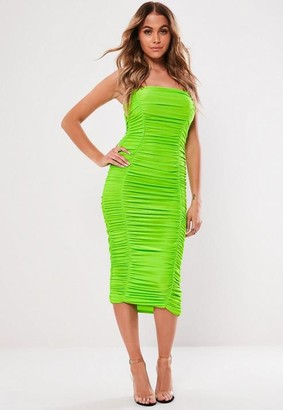 Missguided Neon Green Ruched Cami Bodycon Midaxi Dress