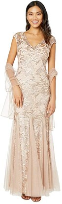 Alex Evenings Long Embroidered Fit-and-Flare Dress with Godet Detail Skirt and Shawl (Rose Gold) Women's Dress