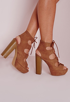 Missguided Lace Up 70's Platform Sandals Tan