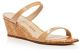 Stuart Weitzman Women's Aleena Square Toe Leather Wedge Sandals